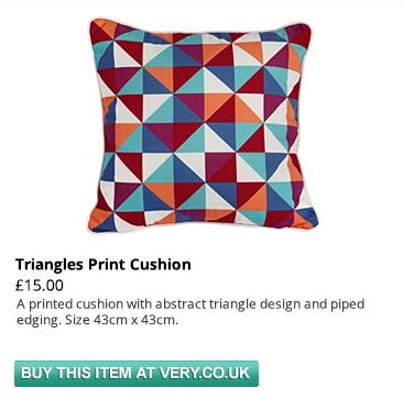 triangles print cushion