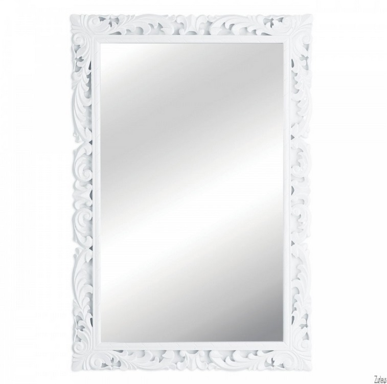 white gloss carved mirror