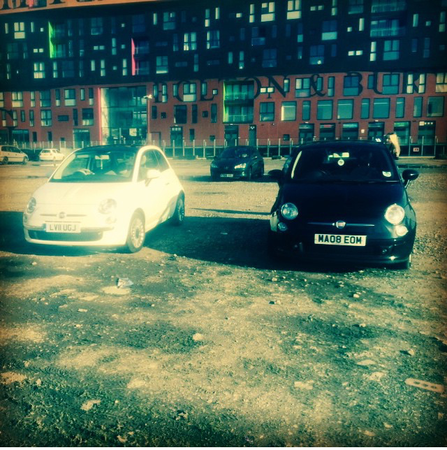 fiat500 cream and black