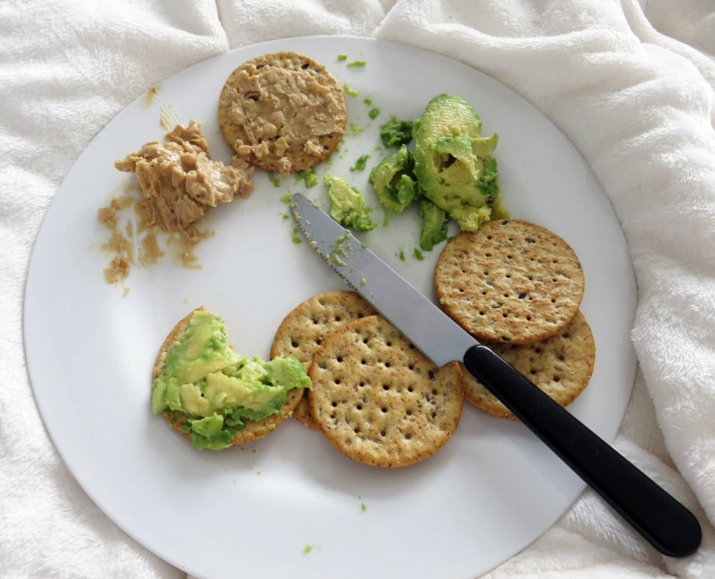 crackers and avocado
