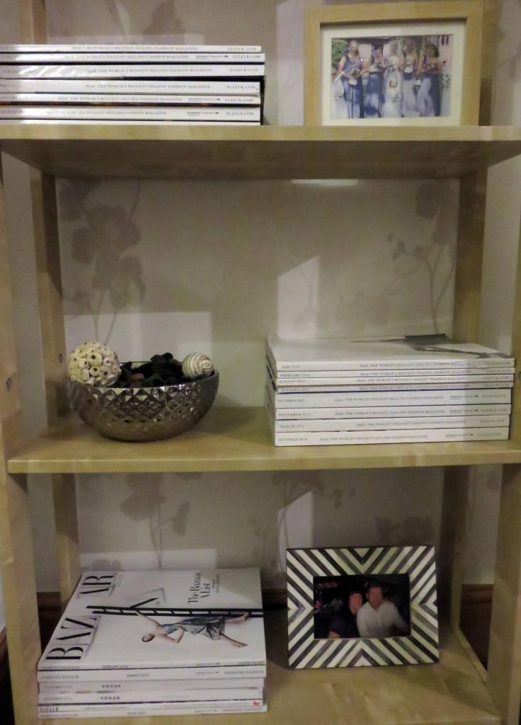 magazines on shelf