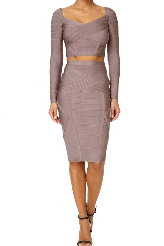 CATERINA - Taupe Co-ordinate Bandage Set with Long Sleeves 305