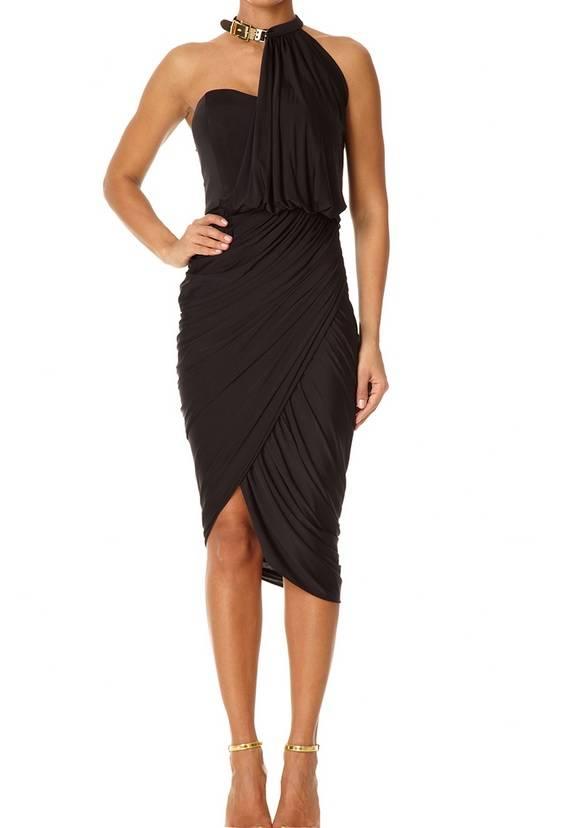 CHELSEA - Black Wrap and Drape Dress