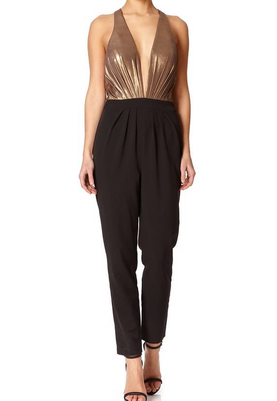 MARLEEN - Black and Gold Tailored Jumpsuit 305