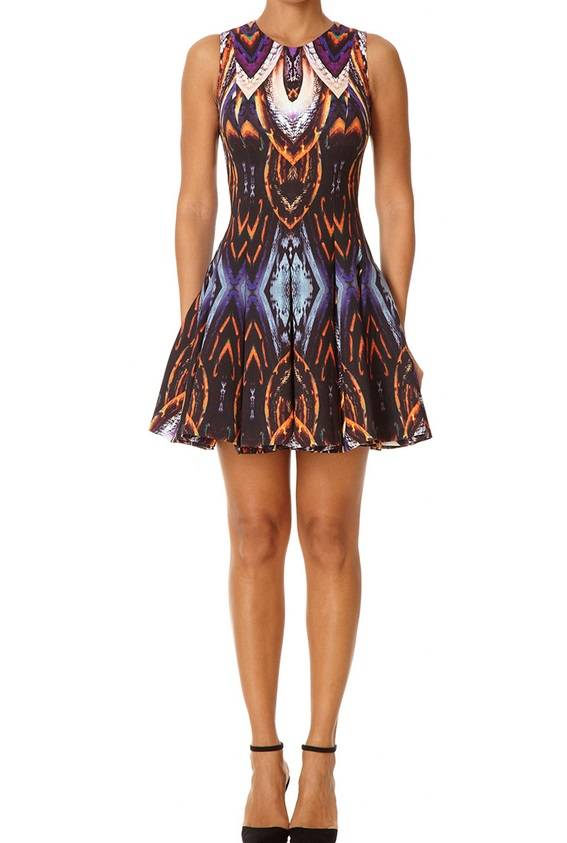 NESSIE - Purple Mixed Print Fit and Flare Dress 180