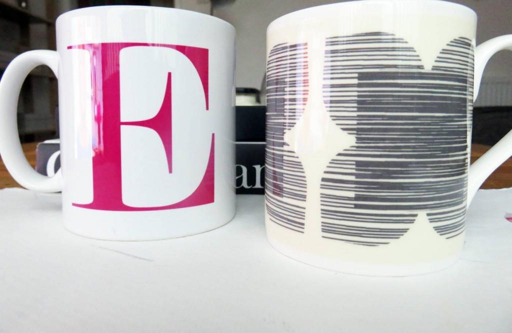 E initial mug